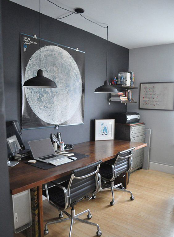 I am a big fan of all sorts of grey walls and this dark charcoal looks really elegant and smart for an office. I think with white walls in the rest of the room it would still look airy and fresh.