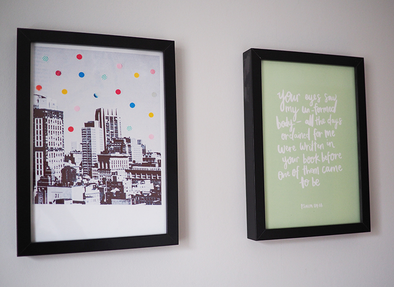 The print on the left is by  Laura Redburn  - Its not for sale in her shop but I saw it on her blog and she kindly made it into a print for me a while ago. The print on the right is one of mine and is  available in my shop . You can choose between grey and green because its double sided.