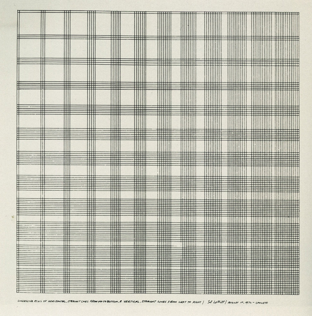 Successive Rows of Horizontal Straight Lines from Top to Bottom and Vertical Straight Lines from Left to Right,  1972  © 2015 Estate of Sol Lewitt / Artists Rights Society (ARS), New York