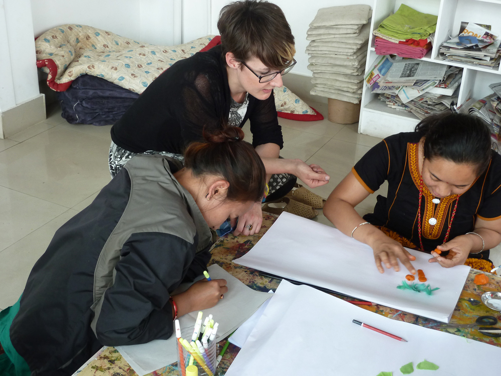 Above: Working with Trauma training session, at Nepal Children's Art Museum for Art Refuge UK, March 2015