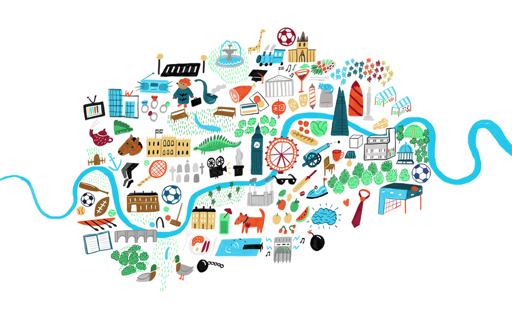 Map of London by place names. Shortlisted for the Prize For Illustration 2015, exhibited in the London Transport Museum with the AOI.