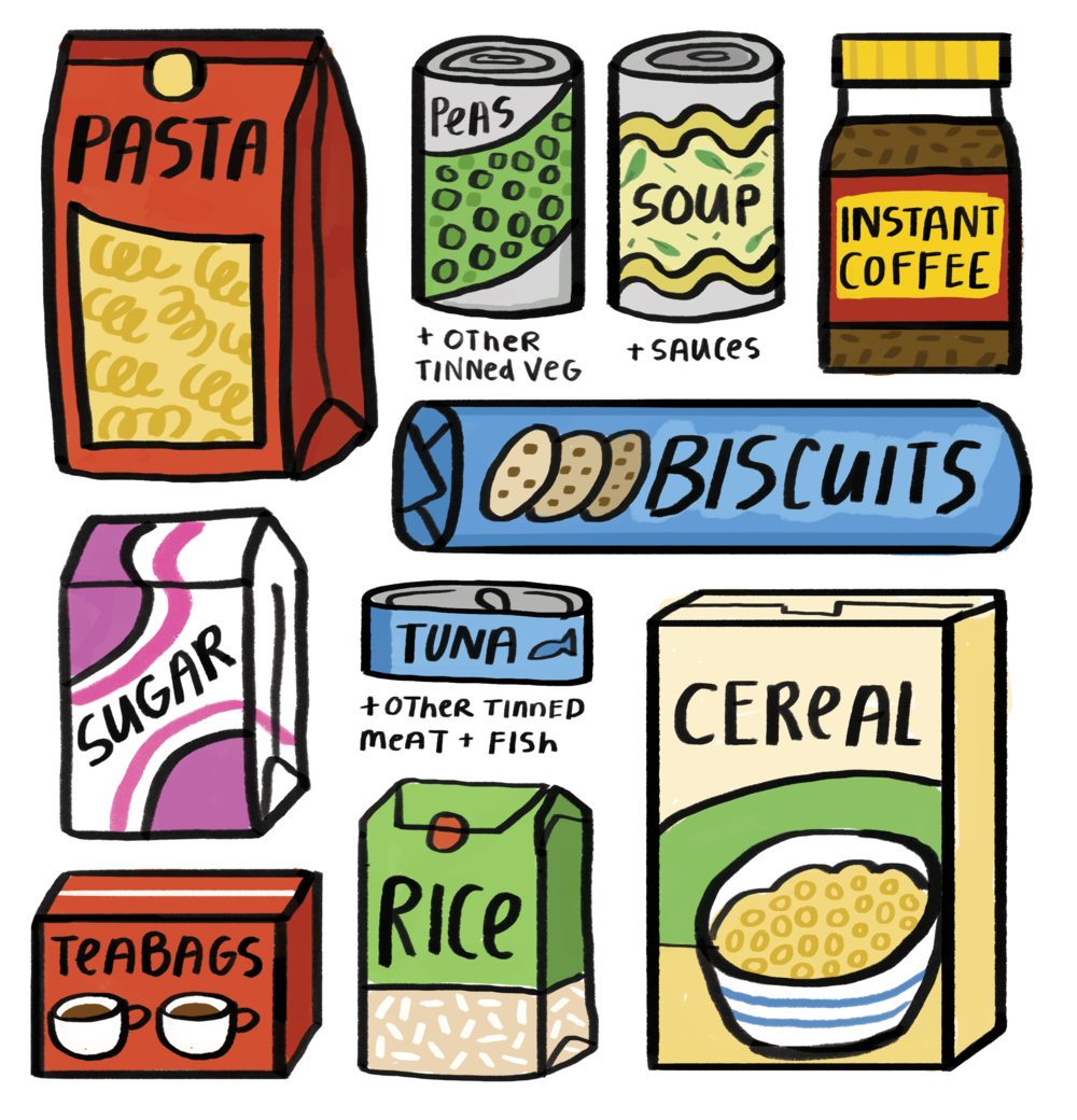 Illustrated items for a Food Drive poster