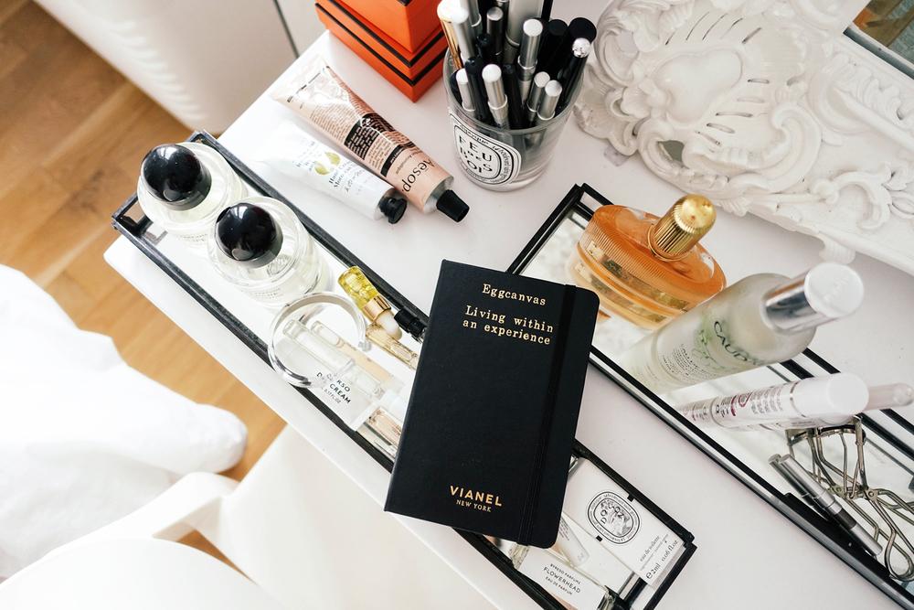 Vianel x Moleskine Pocket Notebook, Caudalie Beauty Elixir, Byredo Parfum, Aesop Hand Balm, Diptyque Candle