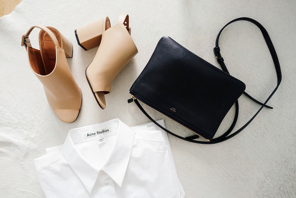 Givenchy Sandals  ( Black ,  White ),  Acne Studios Shirt  ( Similar ), Céline Bag ( Similar ,  Similar )