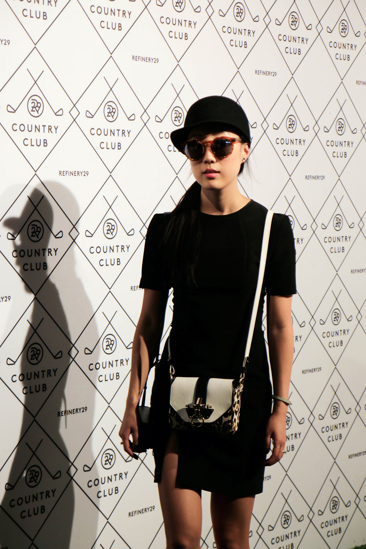 T by Alexander Wang Dress (Similar,Similar), Givenchy Bag (Similar), Illesteva Sunglasses, Vintage Hat, Hermes Bracelet (Black, White), Cooee Earrings
