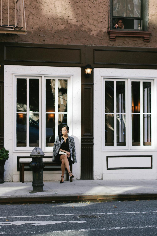 Sam Edelman  Pleated Studded Dress ,  Moto Jacket ,  Smithfield Heels , Chanel Boy Bag,  Thierry Lasry Sunglasses , Hermes Bracelet, AVEC New York  Earring  and  Rings ,  Gjenmi Necklace