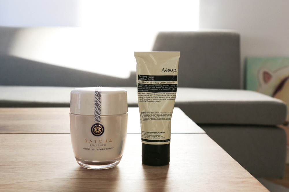 Tatcha Enzyme Powder, Aesop Facial Exfoliant Paste