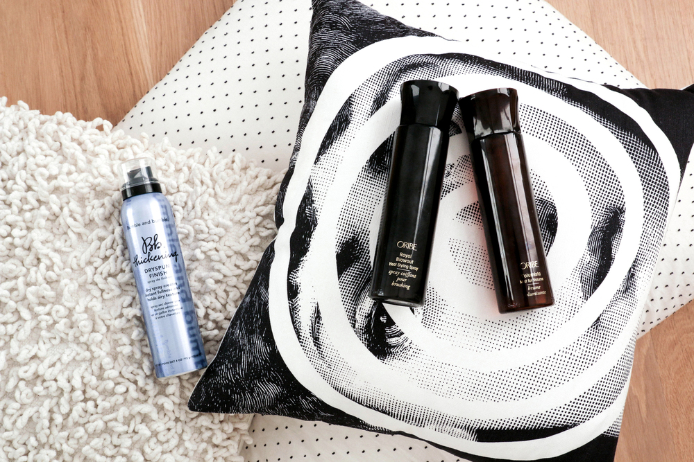 Bumble & Bumble Thickening Dry Spun Finish ,  Oribe Heat Styling Spray ,  Oribe Volumista Mist
