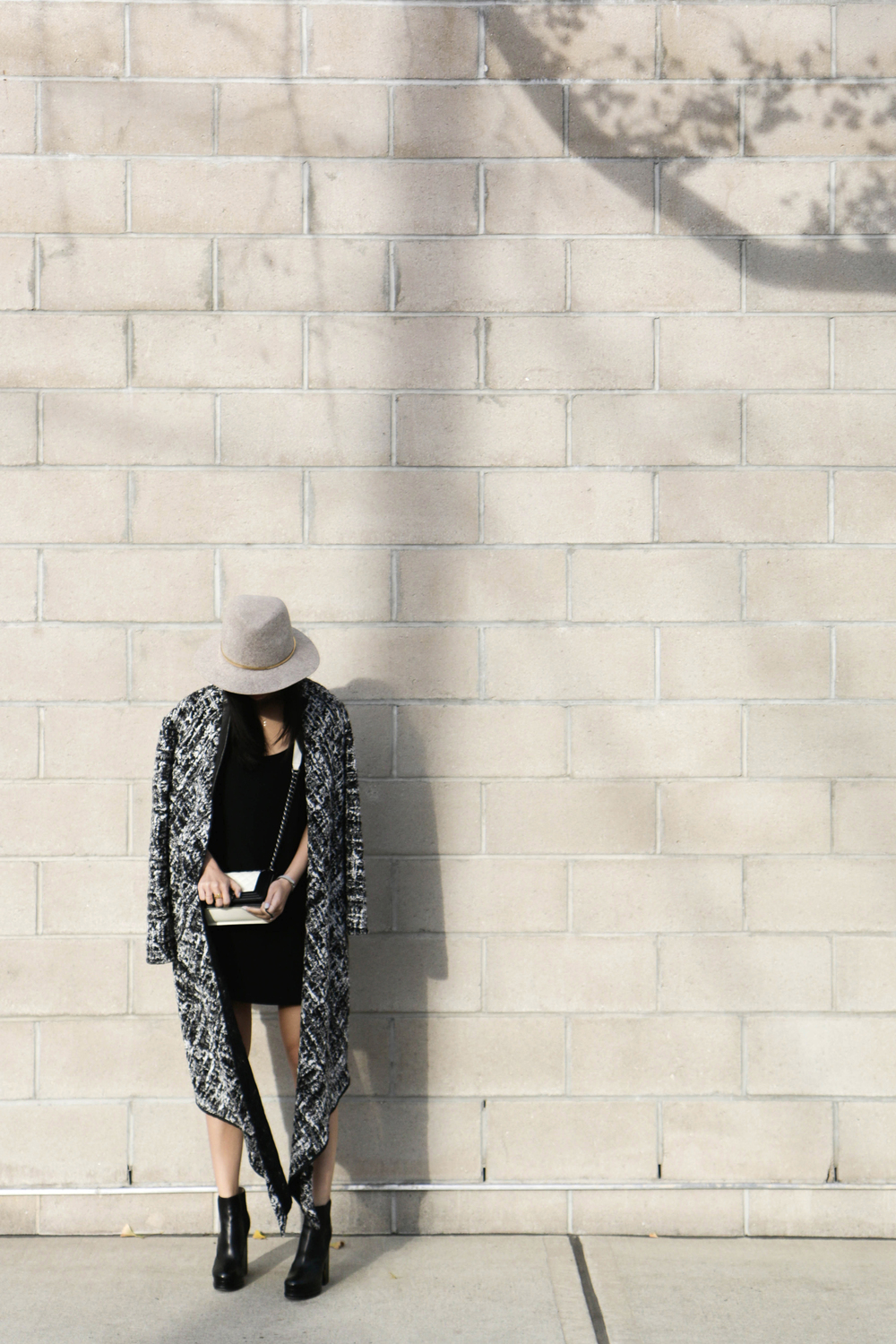 Marie Hell Submit Tunic Dress ,  Valdis Coat , Chanel Shoes and Bag,  The Row Sunglasses , Janessa Leone Hat
