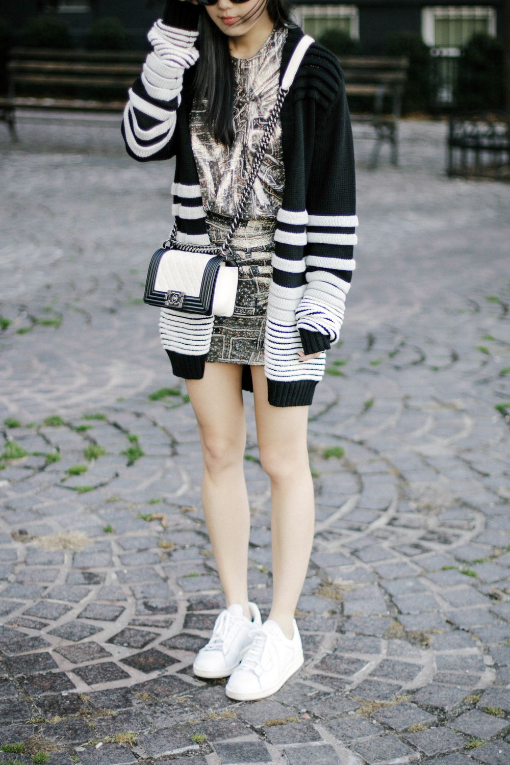 Public School Cardigan , Isabel Marant x H&M Dress,  Adidas Sneakers , Chanel Bag,  Janessa Leone Hat , Acne Studios Sunglasses
