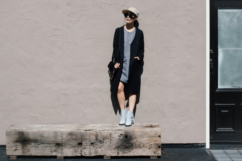 Courri Jacket, Everlane Dress, Acne Studios Boots, Chloé Bag, Kenzo Hat, Céline Sunglasses