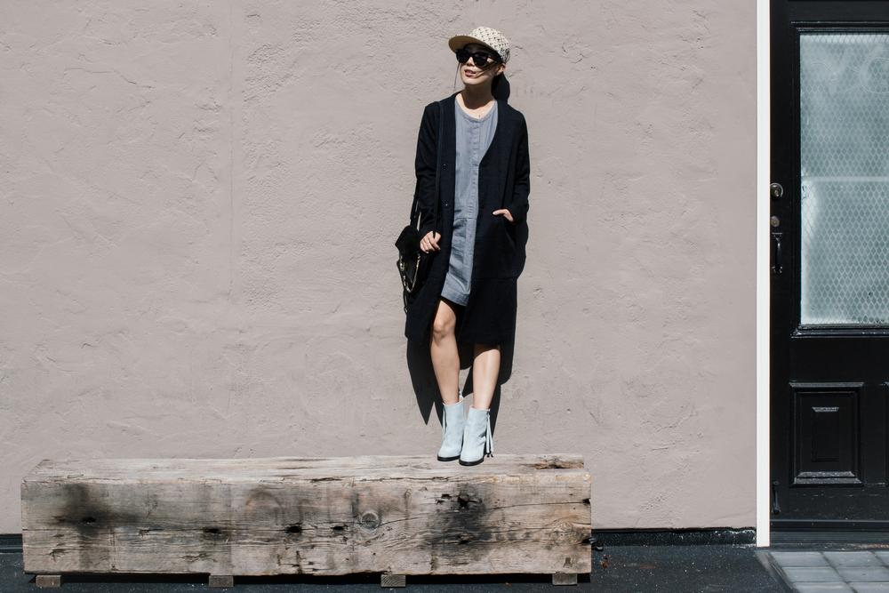 Courri Jacket ,  Everlane Dress ,  Acne Studios Boots ,  Chloé Bag , Kenzo Hat, Céline Sunglasses