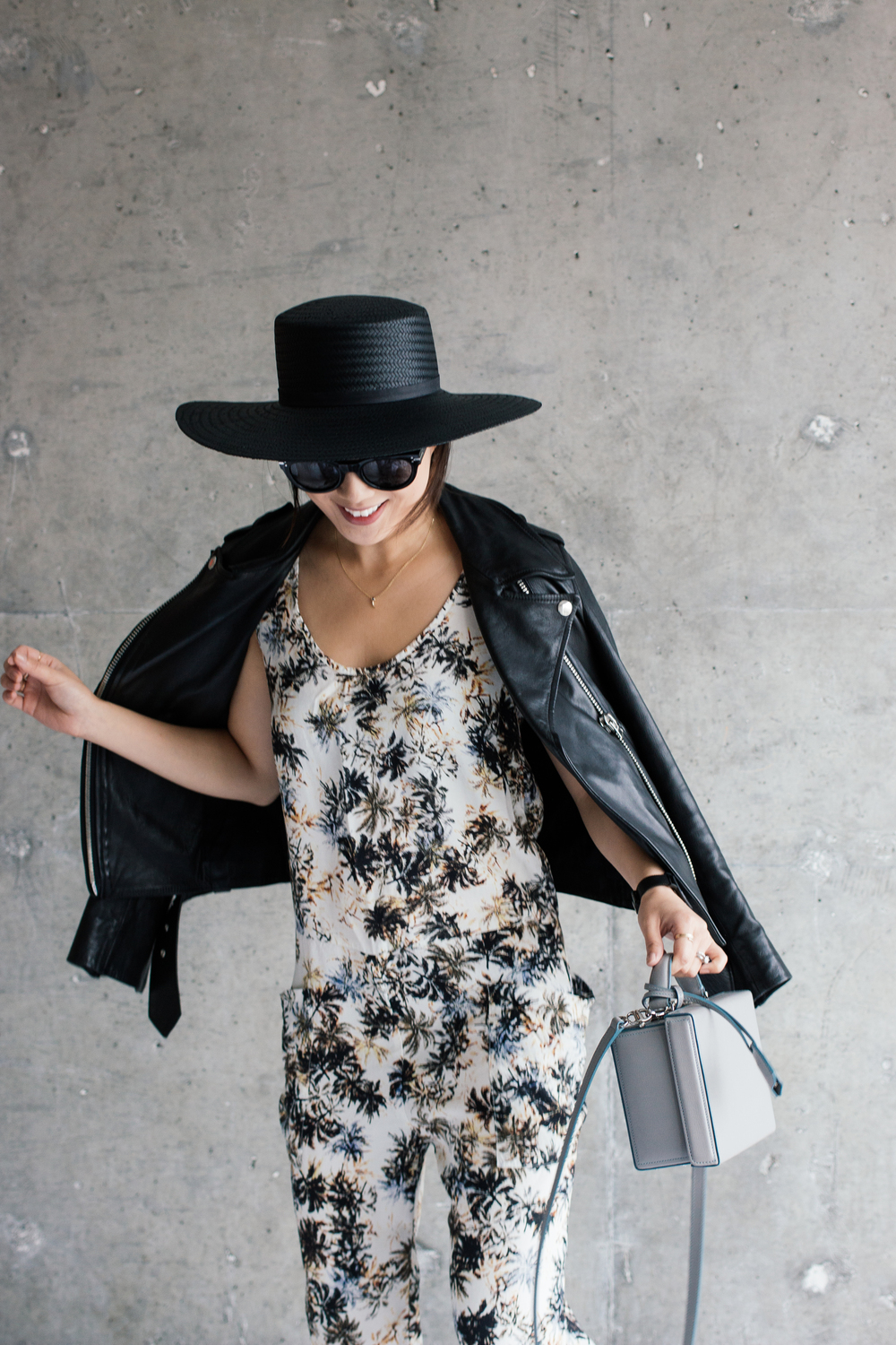 Acne Studios Jacket ,  Asos Jumpsuit ,  Marni Sandals , Mark Cross Bag ( Black ),  Janessa Leone Hat , Céline Sunglasses