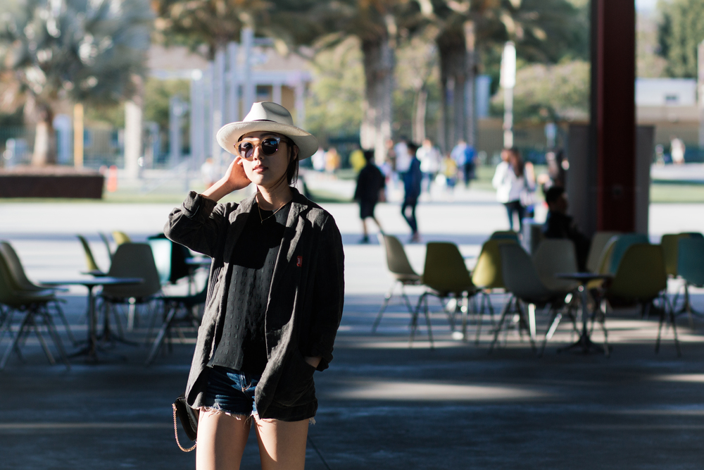 Pas de Calais Jacket (Long), Kenzo Top, Rag & Bone Shorts (Similar), Adiadas Sneakers, Chloé Bag, Cutler & Gross Sunglasses, Muji Hat