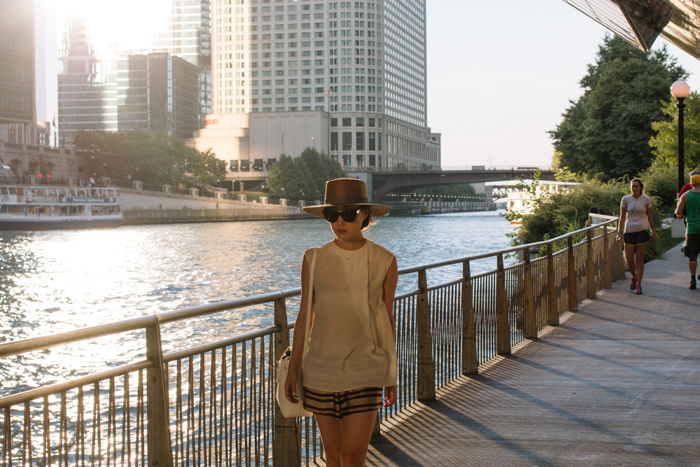 COS Top, Dries Van Noten Shorts, Mansur Gavriel Bag, Janessa Leone Hat