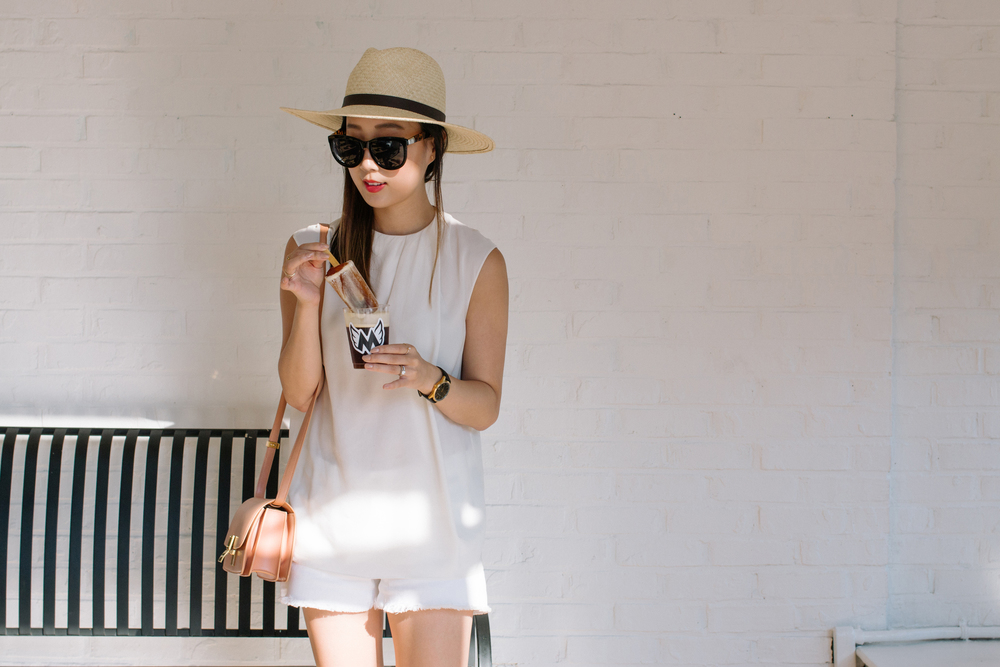 COS Top, J Brand Shorts, Céline Bag,  Janessa Leone Hat ,  The Row Sunglasses ,  Larsson & Jennings Watch ,  Euna Joyce Rings ,  AVEC New York Ring