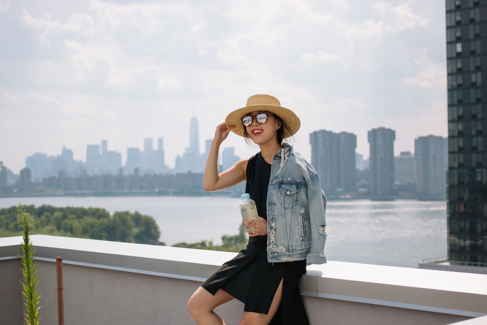 COSTop and Skirt, Denim & Supply Jacket, Janessa Leone Hat, Illesteva Sunglasses