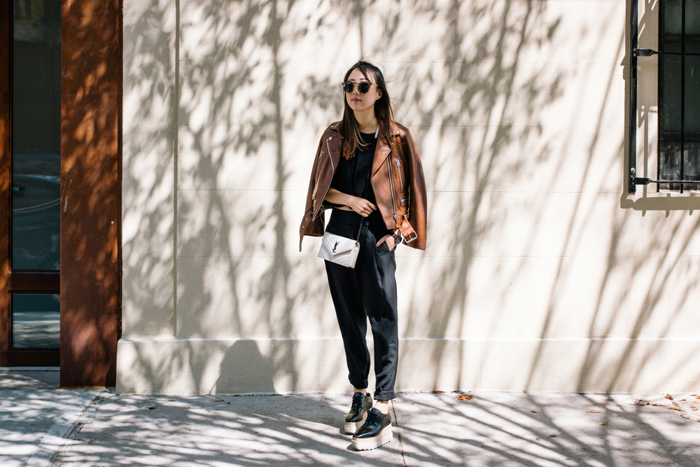 Acne Studios Jacket ,  Finders Keepers Top and Pants ,  Stella McCartney Shoes ,  Saint Laurent Bag ,  Dior Sunglasses