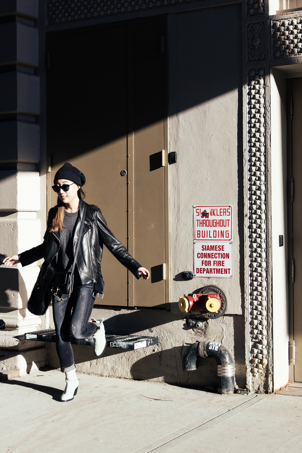 Acne Studios Jacket and Shoes, R13 Denim, Chloe Bag, Maison Margiela Beanie, Dior Sunglasses