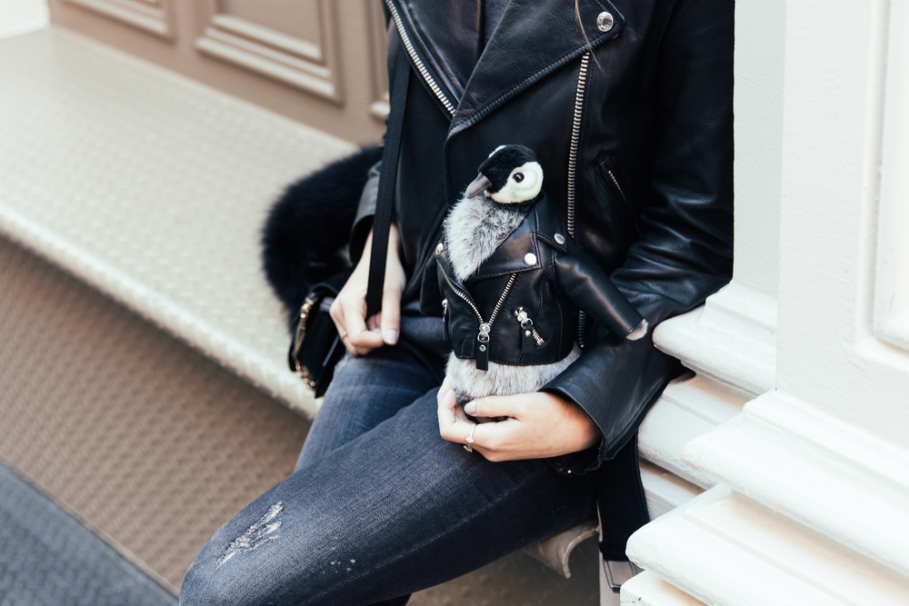 Leather jacket matching with Penny, Barneys New York Holiday Mascot