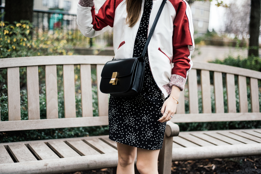 Nikki Chasin Jacket, Saint Laurent Dress, Céline Bag and Bracelet
