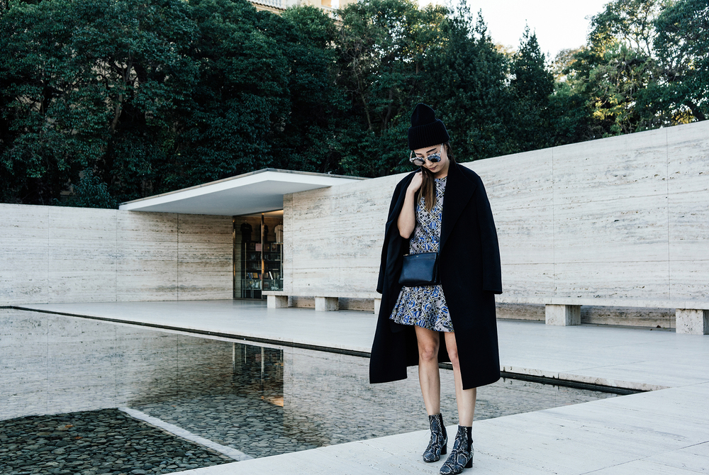 Kuho Coat, Mary Katrantzou Dress, Isabel Marant Boots, Céline Bag, Gentle Monster Sunglasses, Stella McCartney Beanie