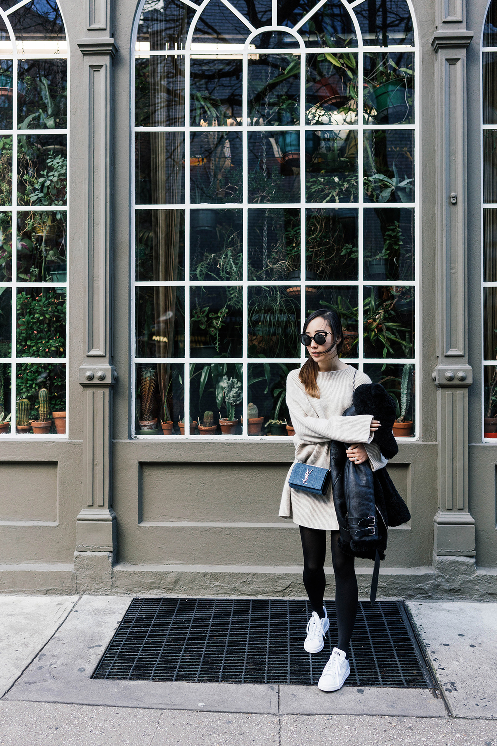 Acne Studios Coat, The Row Sweater, Saint Laurent Bag, Fendi Sunglasses, Adidas Sneakers, Movado Watch, Euna Joyce Jewelry, AVEC New York Jewelry