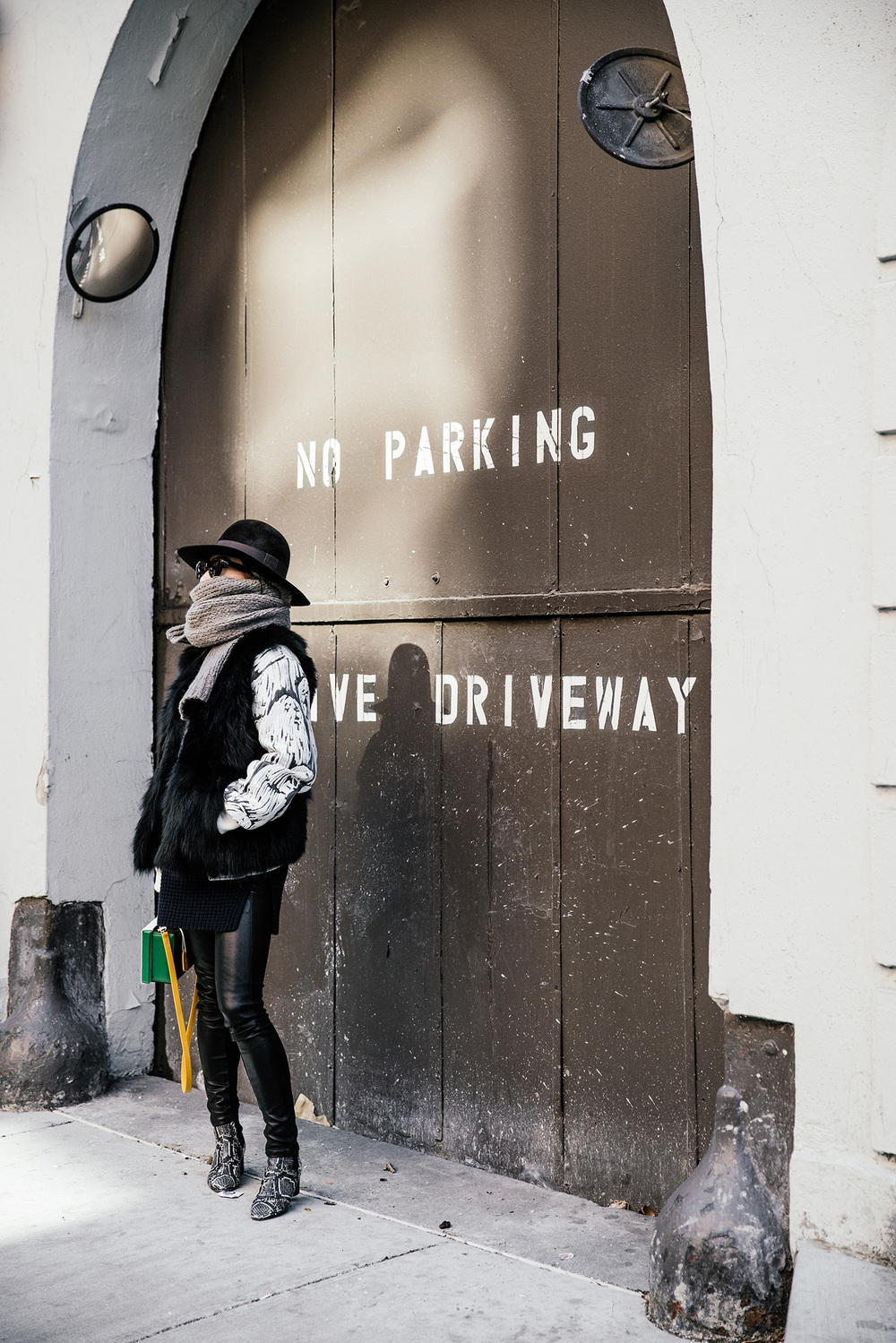 Opening Ceremony Jacket, Ashley B Vest,  Everlane Sweater ,  Rag & Bone Pants ,  Isabel Marant Boots ,  Mark Cross Bag ,  Saint Laurent Hat , Dries Van Noten Scarf, Céline Sunglasses