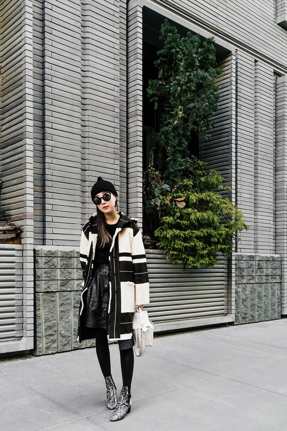 Isabel Marant Coat and Shoes, Everlane Sweater, Vince Skirt, Loewe Bag, Fendi Sunglasses