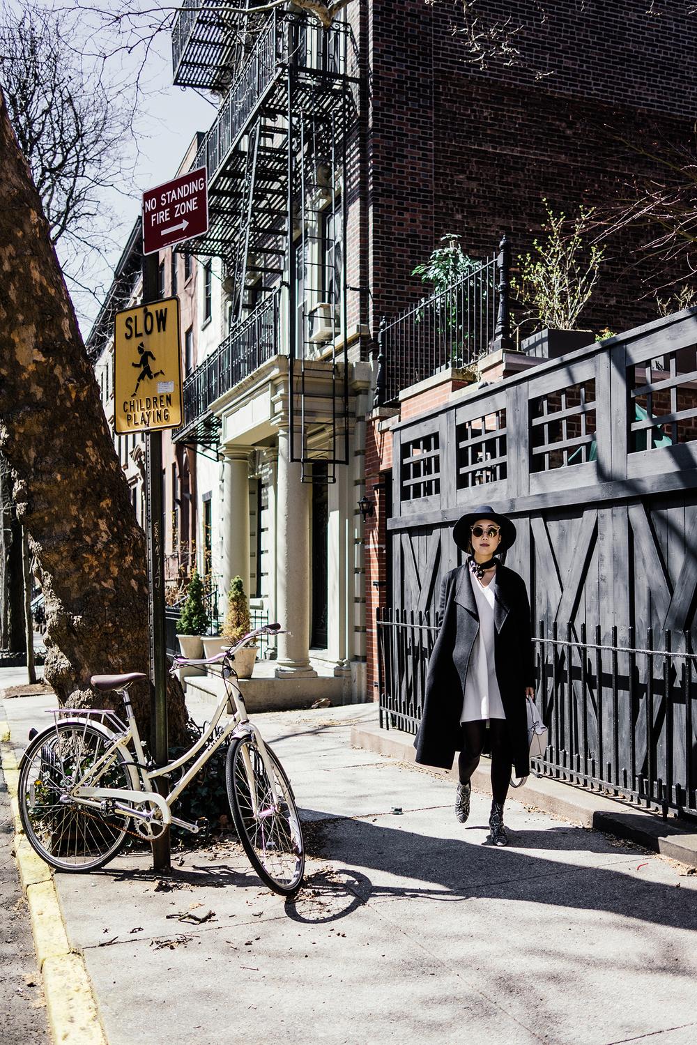 Kuho Coat, Lemaire x Uniqlo Dress, Isabel Marant Shoes, Janessa Leone Hat