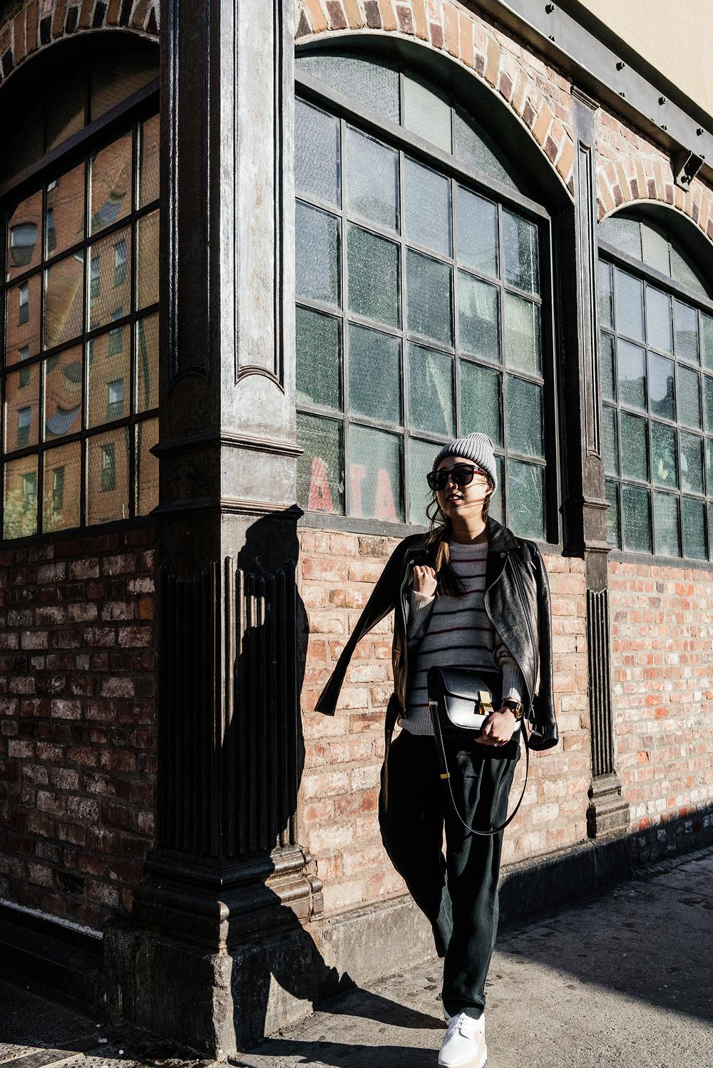 Uniform Jacket, Isabel Marant Sweater, Pas de Calais Pants, Stella McCartney Shoes, Céline Bag