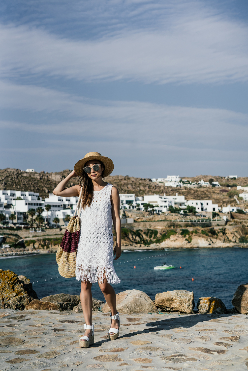 Tabula Rasa Dress and Bag ,  Vince Shoes ,  Janessa Leone Hat ,  Gentle Monster Sunglasses