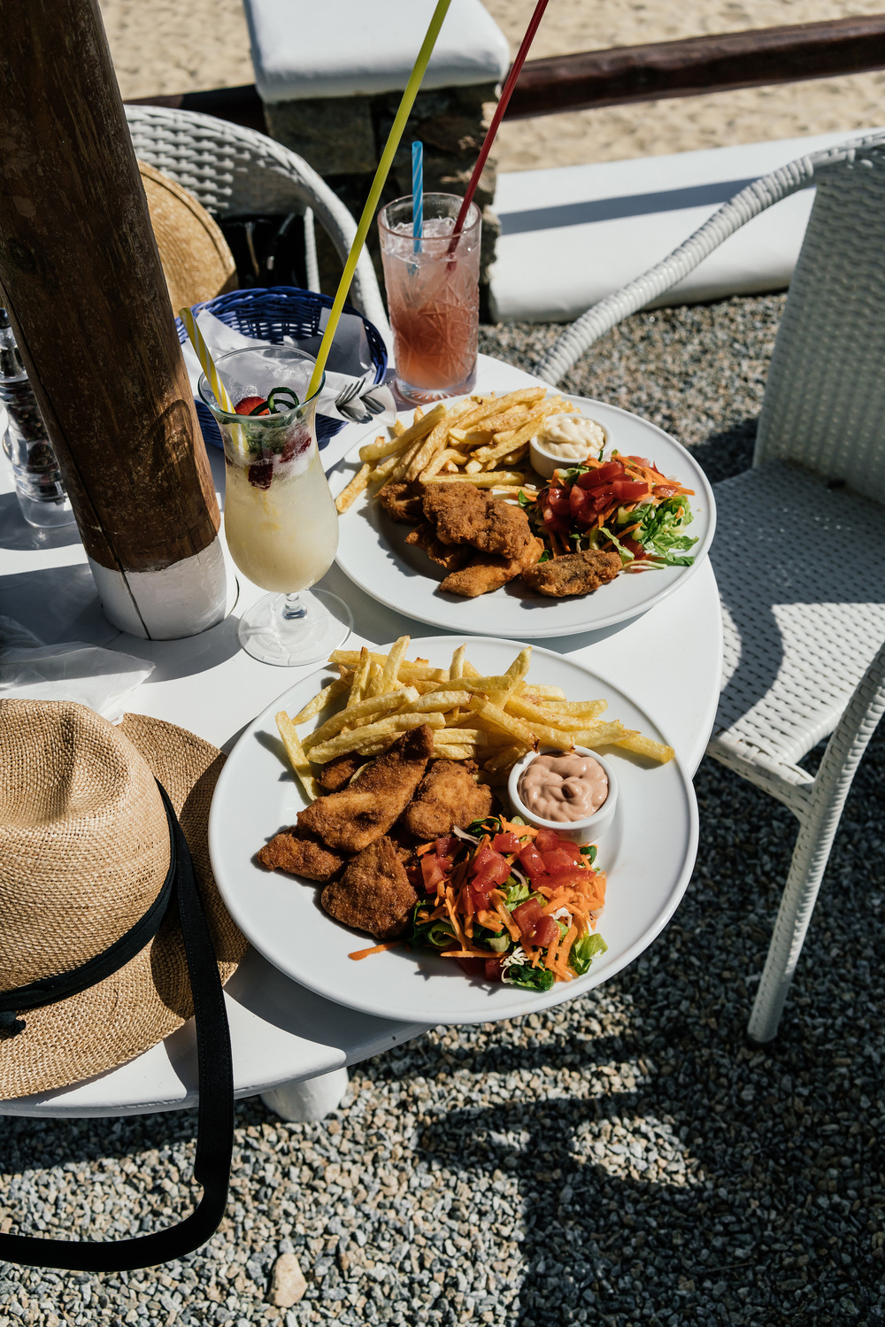 Beach lunch of cod fritters and chicken nuggets at  Cavo Psarou