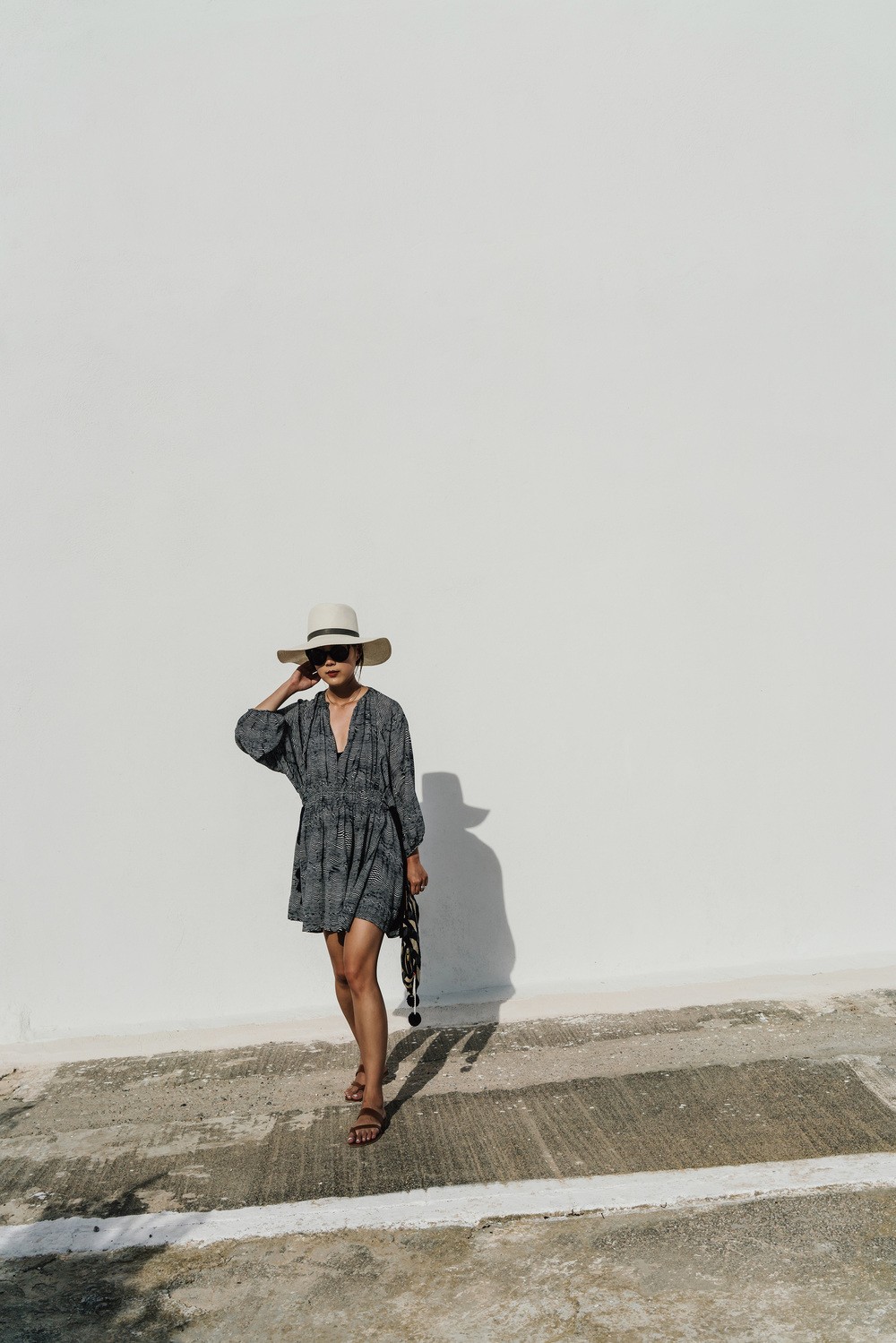 Apiece Apart Dress, Sophie Anderson Bag, Janessa Leone Hat, Manolo Blahnik Sandals, Fendi Sunglasses, Jennie Kwon Choker