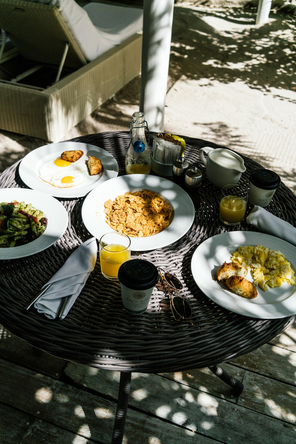 Room service for breakfast on our veranda