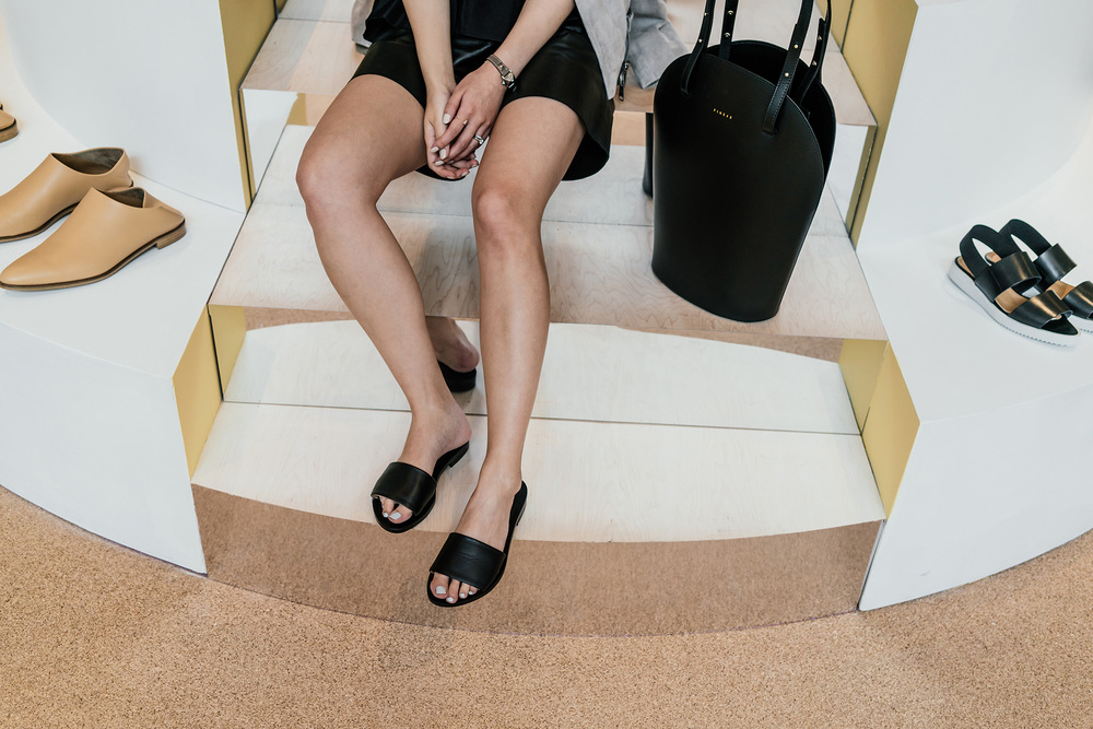 Everlane Sandals , Pine43 Bag