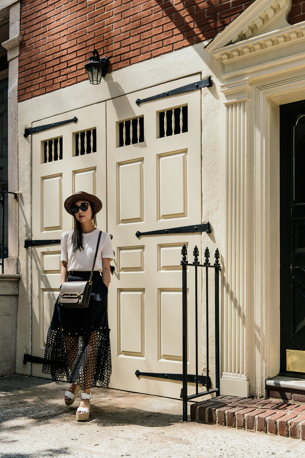 Lou and Grey Top , Kolor Skirt,  Vince Sandals , Hermes Bag, Lanvin Hat, Fendi Sunglasses