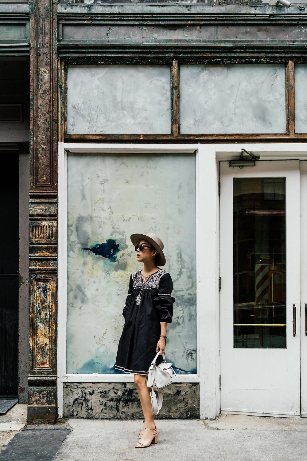 Ulla Johnson Dress ,  Givency Shoes ,  Loewe Bag ,  Janessa Leone Hat