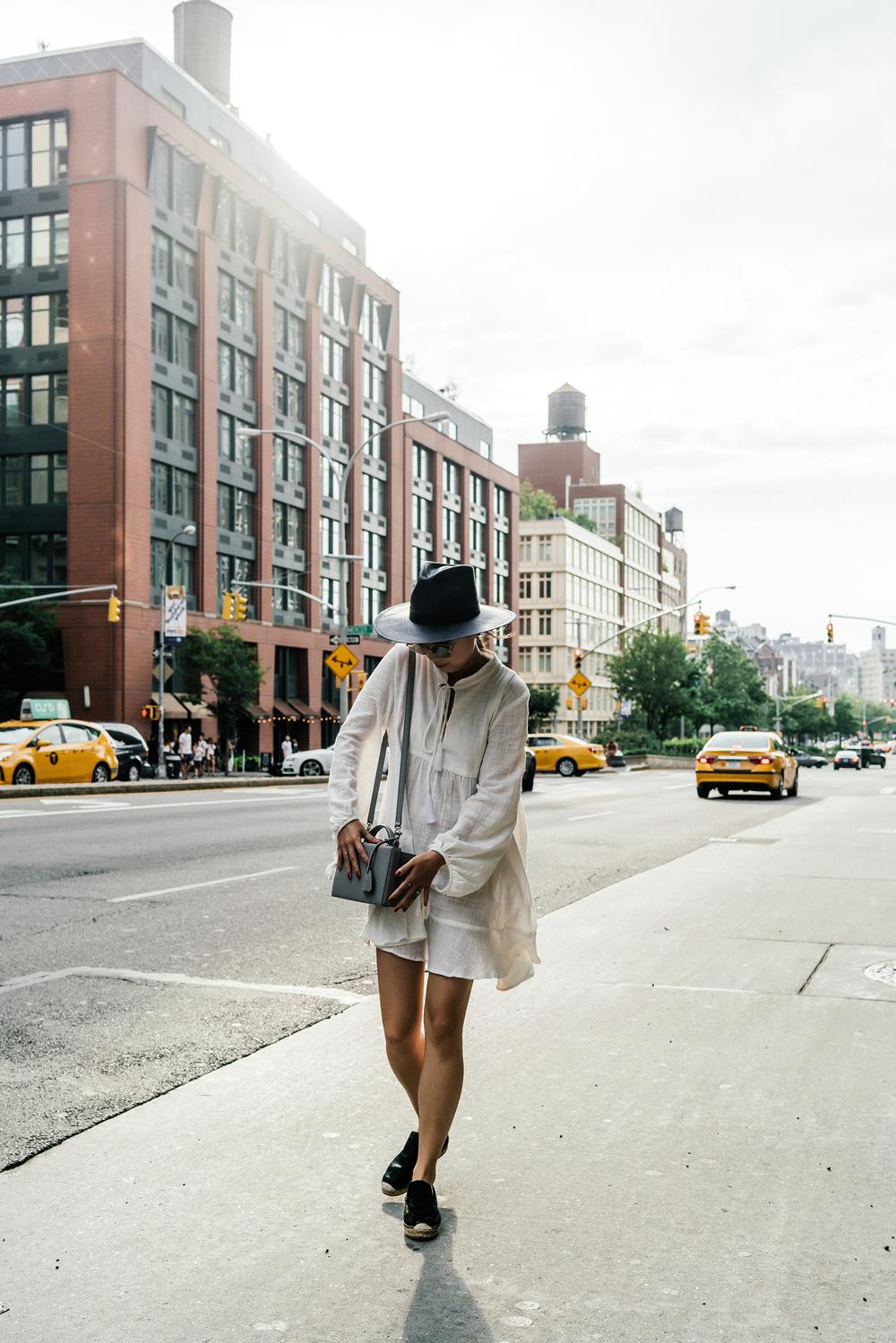 Natalie Martin Dress , Céline Shoes,  Mark Cross Bag ,  Dita Sunglasses ,  Janessa Leone Hat ,  Jennie Kwon Choker
