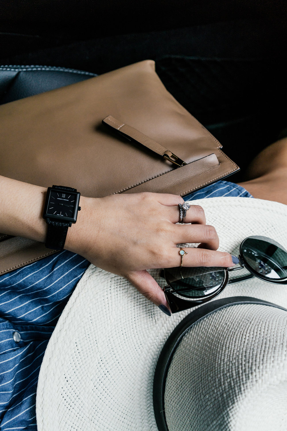 Sezane Dress, Loewe Pouch, Janessa Leone Hat, Fendi Sunglasses (White), Larsson & Jennings Watch, Wwake Ring