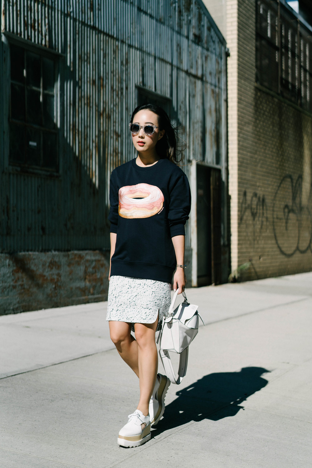 Acne Studios Top, COS Skirt, Stella McCartney Shoes, Loewe Bag, Thierry Lasry Sunglasses, Hermes Watch