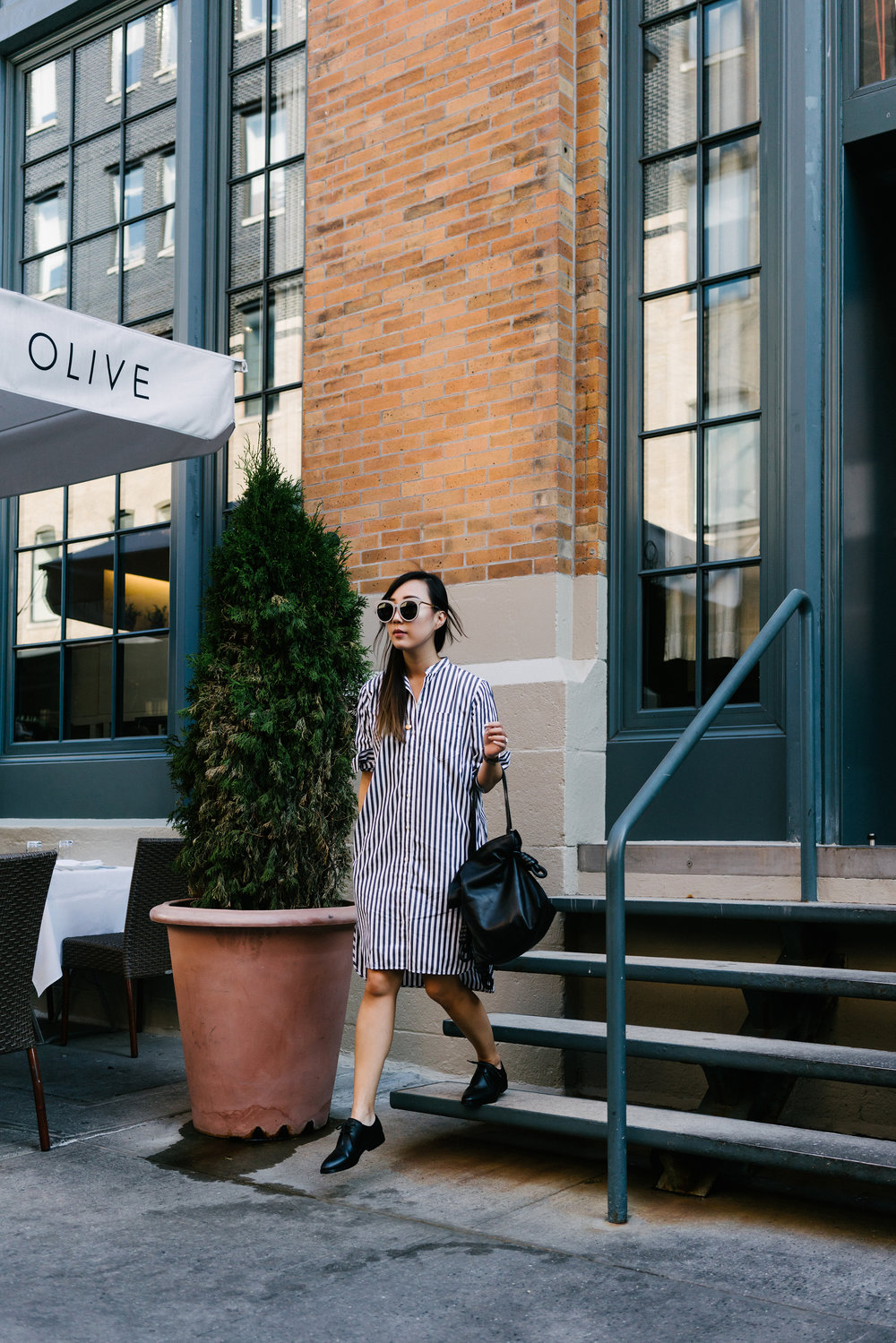 Everlane Dress and Oxfords, Loewe Bag