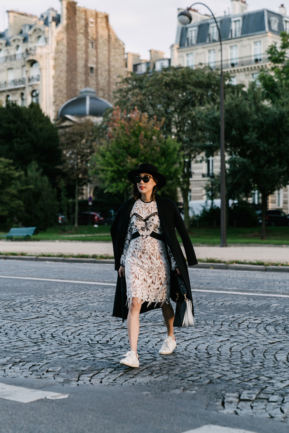 Kuho Coat, Self Portrait Dress, Isabel Marant Shoes, J.W.Anderson Bag, Fendi Sunglasses, Janessa Leone Hat