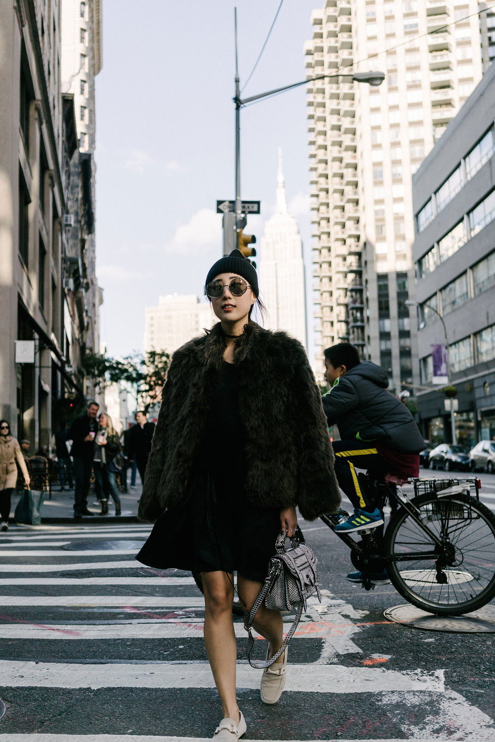 Helmut Lang Coat, McQ Dress, Isabel Marant Shoes, Proenza Schouler Bag, Stella McCartney Beanie, Cutler and Gross Sunglasses