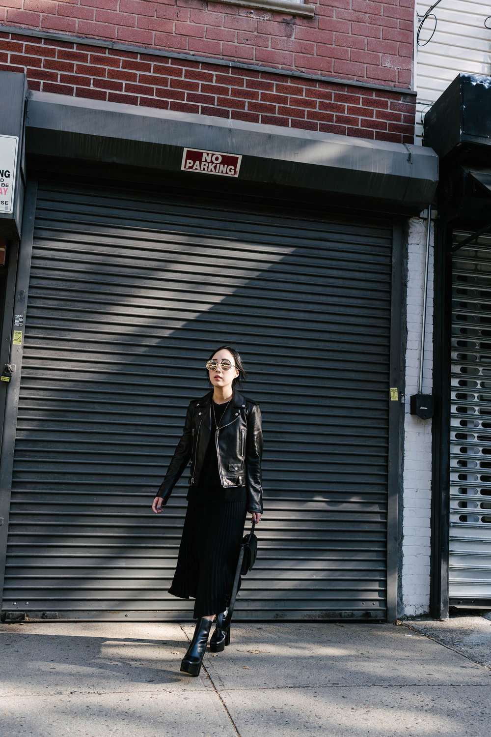 Saint Laurent Jacket  and  Bag ,  Vince Top ,  Aritzia Skirt ,  Alexander Wang Boots