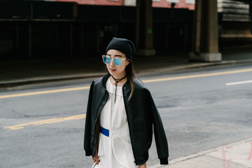 Stutterheim Jacket ,  PH5 Dress , Gentle Monster Sunglasses,  COS Beanie