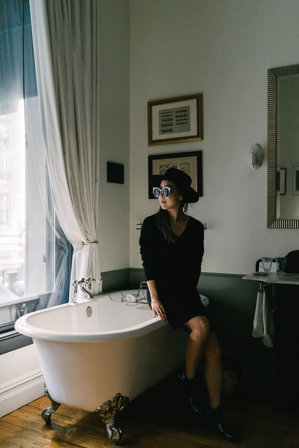 Everlane Dress , Gentle Monster Sunglasses,  Janessa Leone Hat  at  The Nomad Hotel