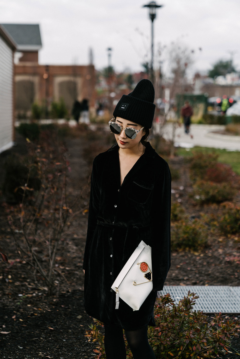 AG Jeans Dress , Loewe Clutch, Gentle Monster Sunglasses,  Acne Studios Beanie