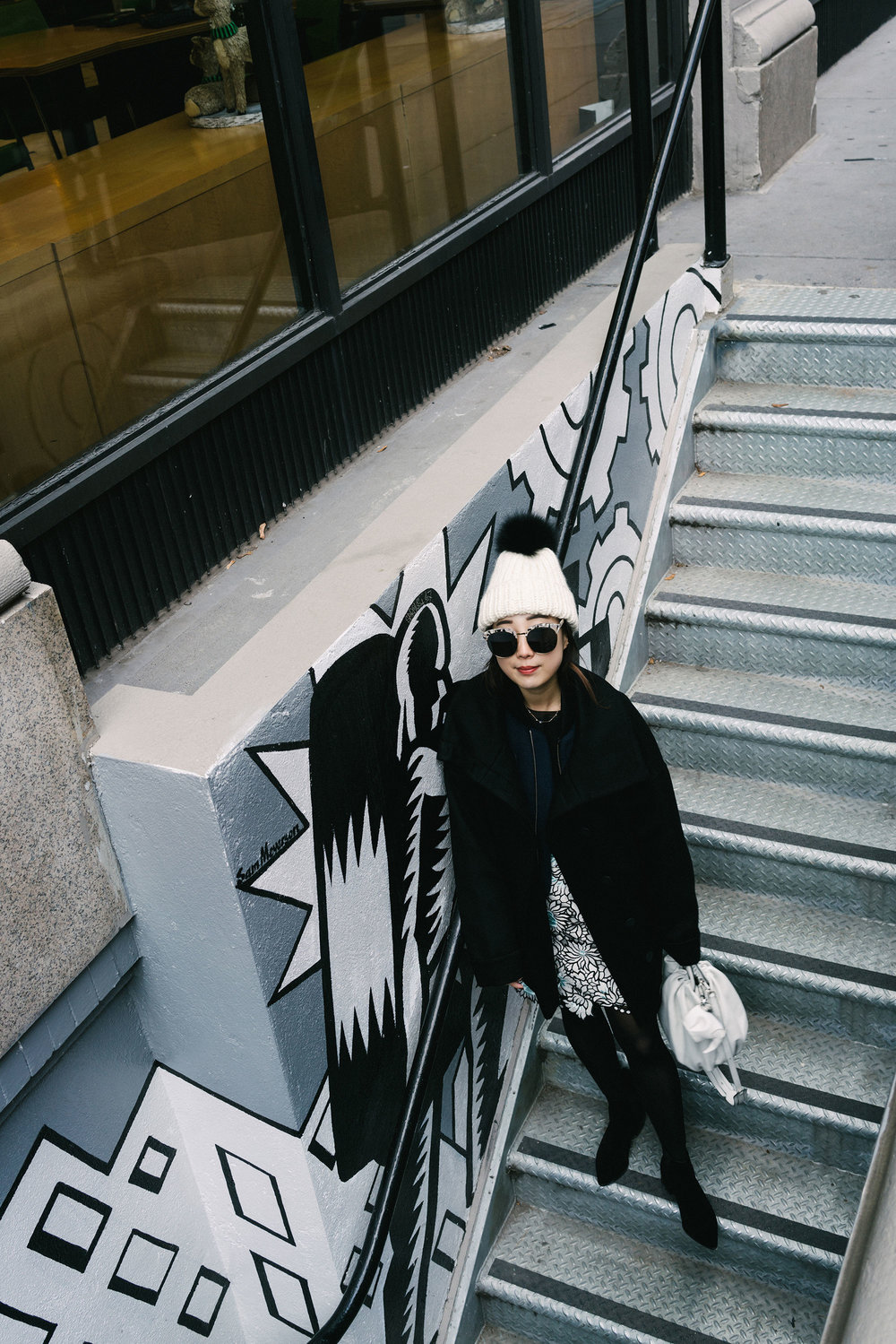 Cienne Bomber, Vince Top, Self Portrait Skirt, Loewe Bag, Eugenia Kim Beanie