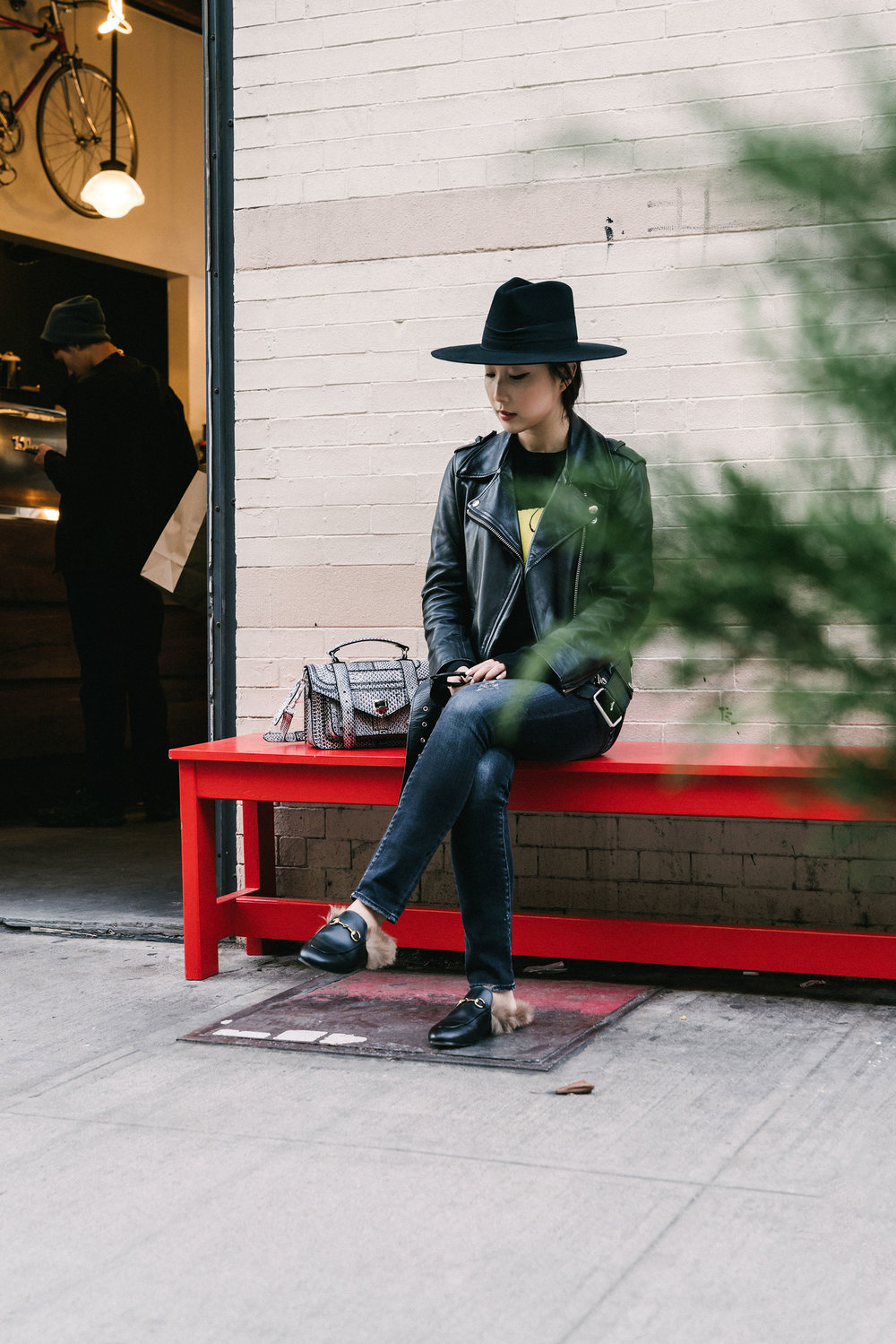 Acne Studios Jacket, Loewe Top, R13 Denim, Gucci Loafers, Proenza Bag, Janessa Leone Hat